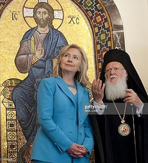 Former Secretary of State Hillary Clinton & Patriarch Bartholomew I.