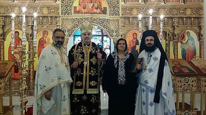 Fr. Saikali, Bishop Alexander, Salam Nasrallah, Fr. Yacoub.