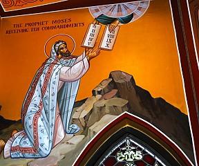 The Prophet Moses receiving the commandments.