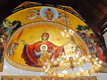 A young Jesus and the Theotokos (Mary), & the Holy Ascension.